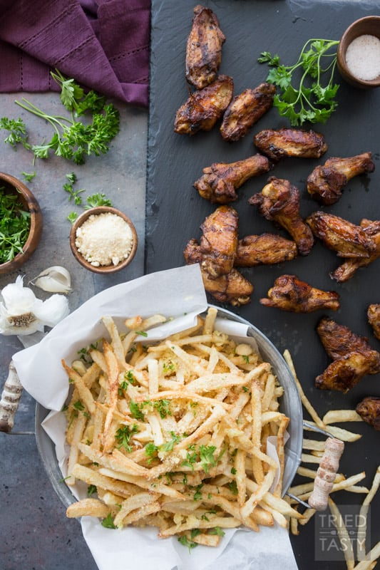 Game Day Wings 'n Parmesan Garlic Fries // Need a game day appetizer? Want some fun finger food that's sure to please a crowd? This power packed combo is sure to give you're guests exactly what they want! | Tried and Tasty