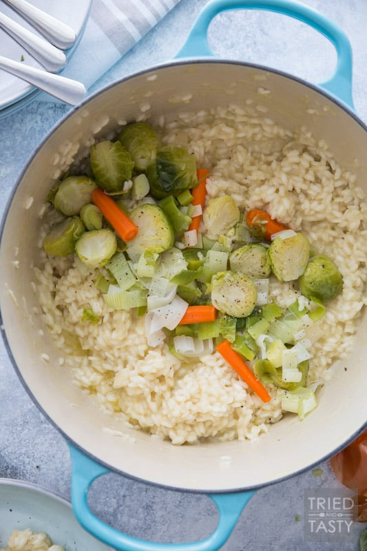 Risotto with Parmigiano Reggiano and Steamed Winter Veggies // This comforting meal is perfect for the cold winter months. Plus made with seasonal veggies that pair perfectly with one another! Warm, cheesy, and filling. All that you could ask for in a delicious dinner! | Tried and Tasty