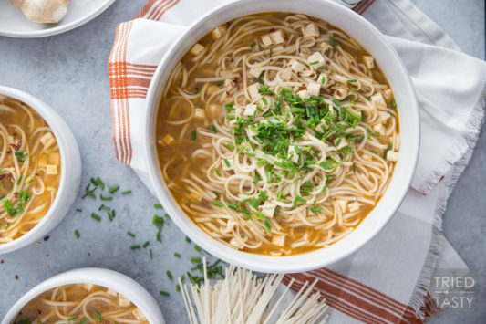 Simple Homemade Vegetarian Ramen // Processed ramen is full of so many things you don't want or need in your food. Make it from scratch and you get to control what you're eating. Plus it tastes phenomenal super fresh! | Tried and Tasty