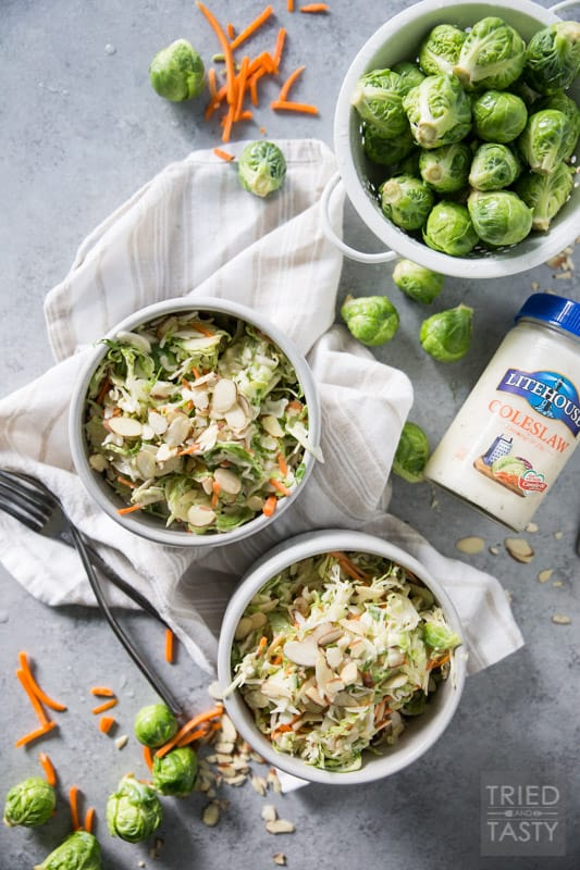 Coleslaw with Shaved Brussels Sprouts and Almonds // This crunchy, tangy coleslaw is taken to the next level with shaved brussels sprouts and sliced almonds - Healthy never tasted so good! | Tried and Tasty.