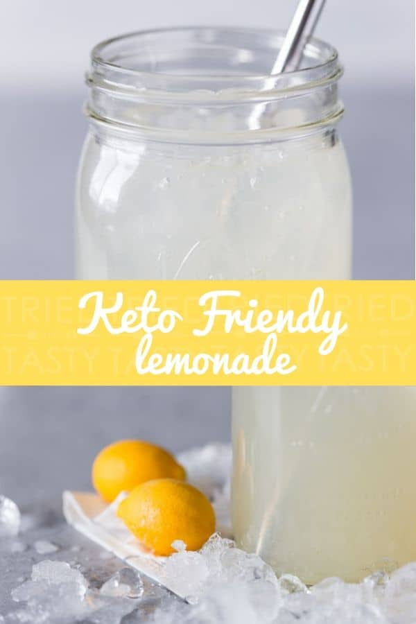 Keto Friendly Lemonade // This keto friendly lemonade is made of five all-natural ingredients and refined sugar-free. A perfect thirst-quenching refresher that\'s completely guilt-free! | Tried and Tasty #keto #ketodrinks #ketorecipe #ketodiet
