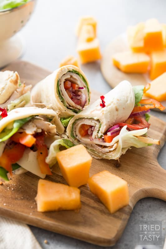 Turkey and Swiss Wrap // Lunch doesn't get easier (or tastier) than this! Start with a high quality tortilla, top with a few of your favorite things, slice and voila! Lunch is served!   Tried and Tasty