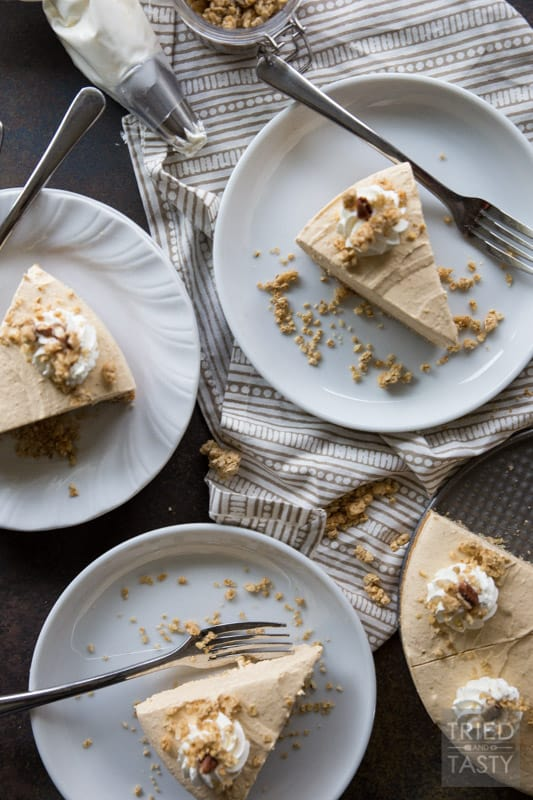 Almost No Bake Maple Pecan Pumpkin Cheesecake // You'd never guess the secret ingredient in the crust of this delicious cheesecake! I'll give you a hint: it's not graham cracker! With a light pumpkin flavor, this cheesecake is perfectly sweetened with a touch of maple & pecan. | Tried and Tasty