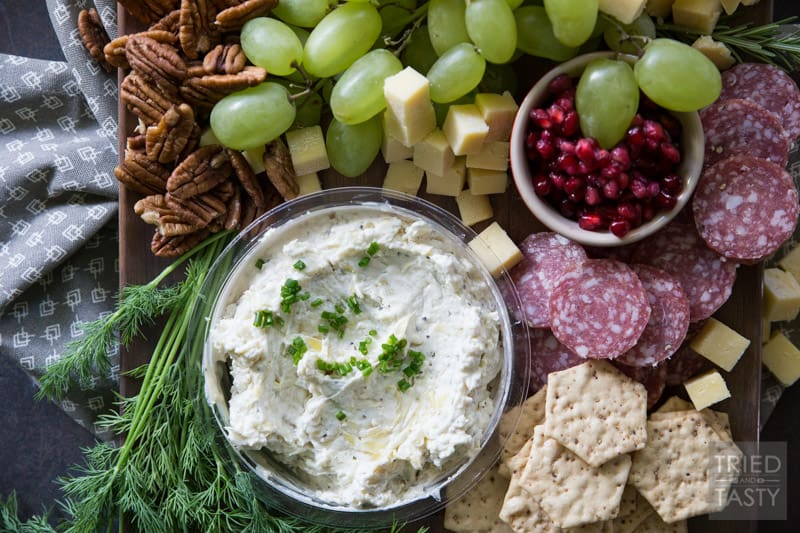 Lemon Pepper Asiago Holiday Cheese Board | Make your holiday spread a little more festive with this holiday cheese board. There's something for everyone! | Tried and Tasty