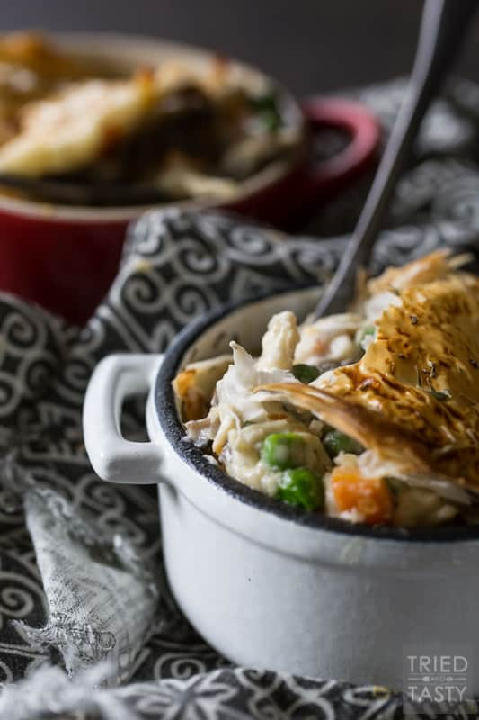 Chicken Pot Pie | This hearty, belly filling Chicken Pot Pie recipe is a fresh take on a classic favorite - featuring a flaky, melt in your mouth crust. | Tried and Tasty