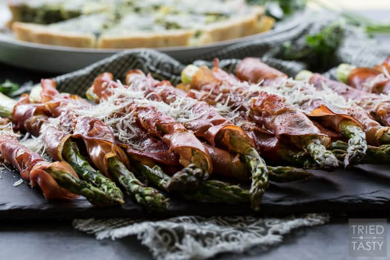 Quiche & Prosciutto Wrapped Asparagus // Sometimes the simplest side dishes can make the dinner shine. This asparagus is perfect paired with quiche or endless other options! Plus there's a smoked flavor that will wow your tastebuds! | Tried and Tasty