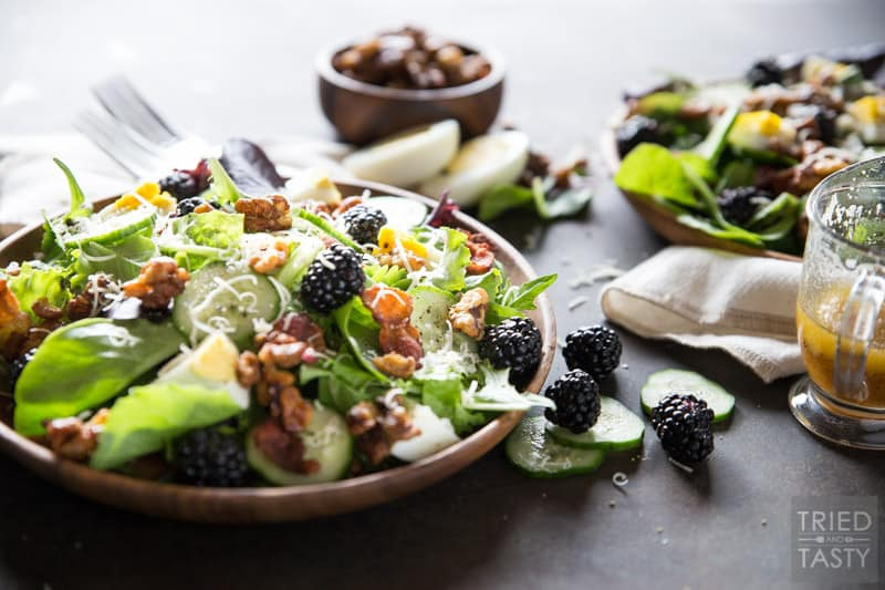 Blackberry Bacon and Egg Salad With Maple Dijon Vinaigrette // The flavors in this tasty summer salad marry so well together you'll want this every day for lunch! Deliciously tart blackberries, salty bacon and a to-die-for vinaigrette! | Tried and Tasty