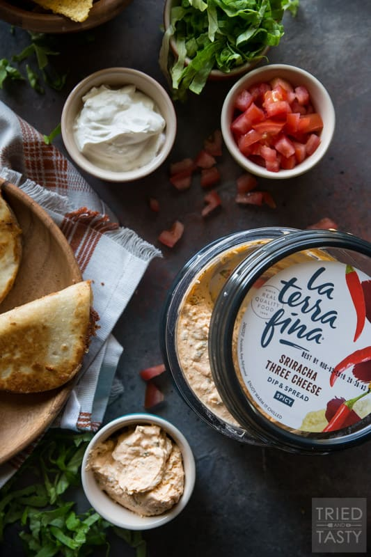 Mini Bean and Three-Cheese Quesadillas // The perfect summertime finger food that's not only delicious but equally portable. Packed full of cheesy flavor you'll fall in love at first bite! | Tried and Tasty
