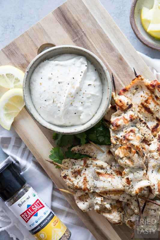 Grilled Lemon Pepper Chicken Skewers // Tender, juicy & flavorful. That's the triple threat power punch you'll get with these delicious grilled chicken skewers. Perfect any time of the year!   Tried and Tasty