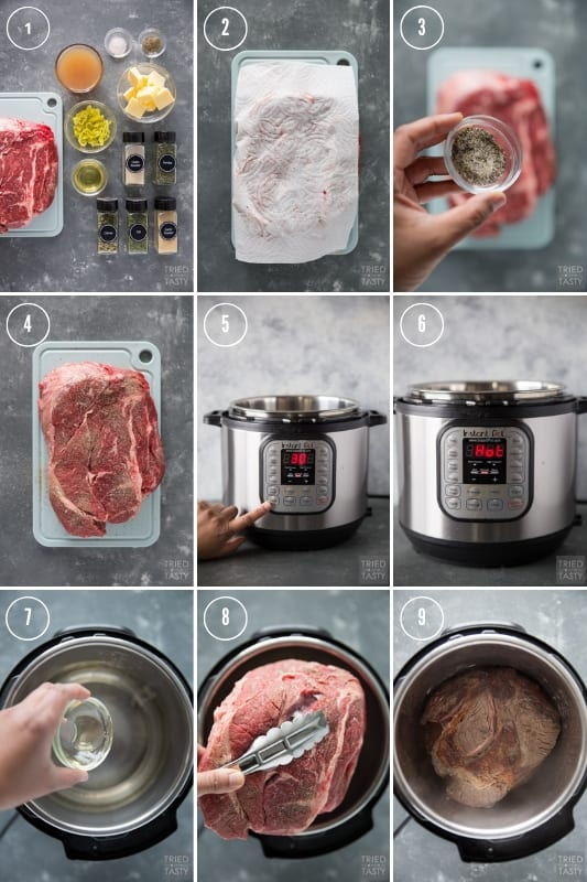 Collage of how to make pot roast in the instant pot