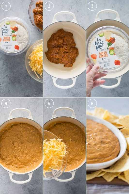 Collage of step-by-step photos of how to make chile con queso