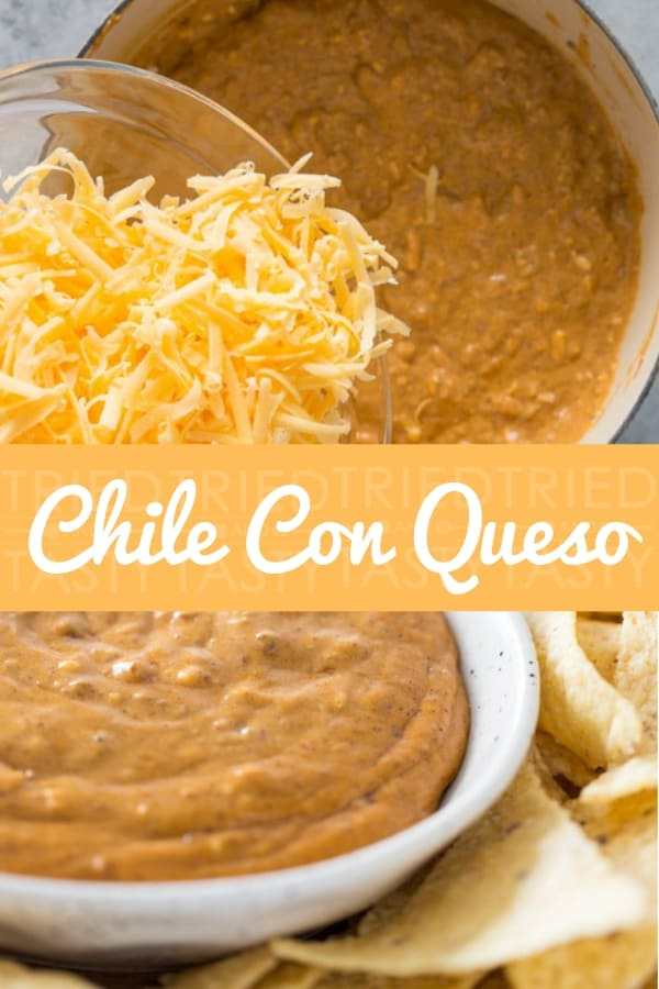 Chile Con Queso // This appetizer is great for football season (especially the Super Bowl, but also works well for holidays (especially NYE) and perfect for any gathering! Three ingredients + less than 10 minutes start to finish = anyone can make this! | Tried and Tasty