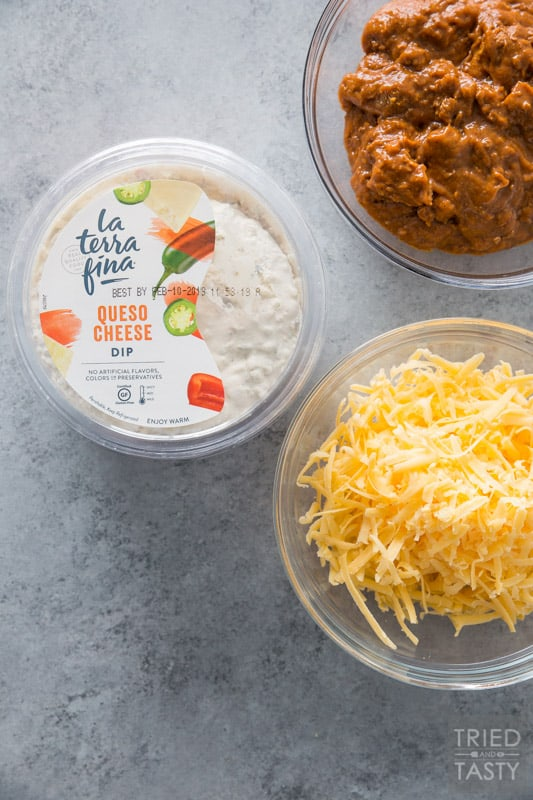 1 pkg of La Terra Fina queso dip, a bowl of shredded cheddar, and a bowl of no bean chili