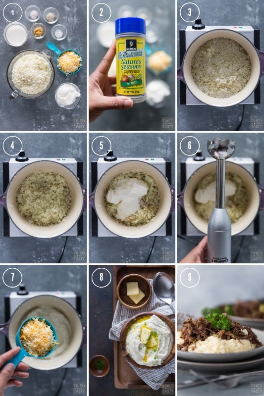 Collage of step-by-step photos showing how to make cauliflower mash