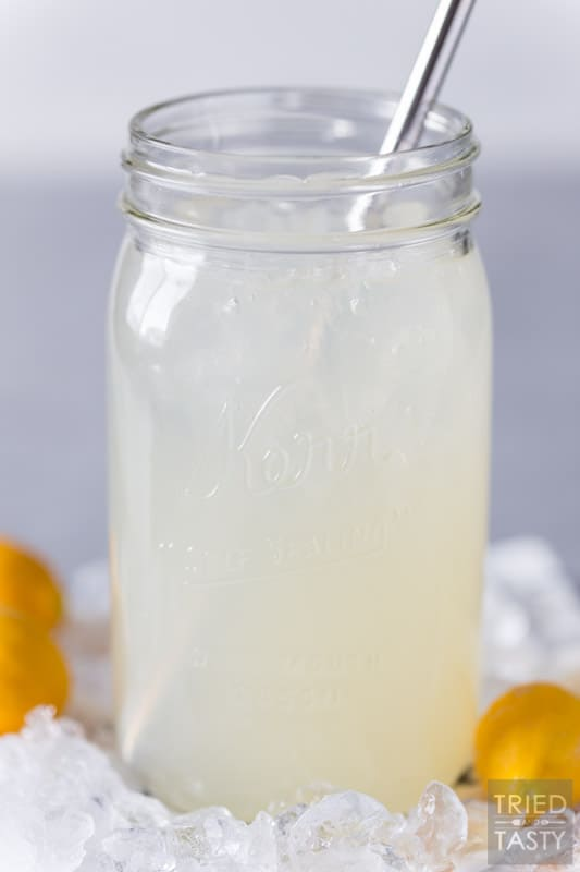 Jar of lemonade with ice