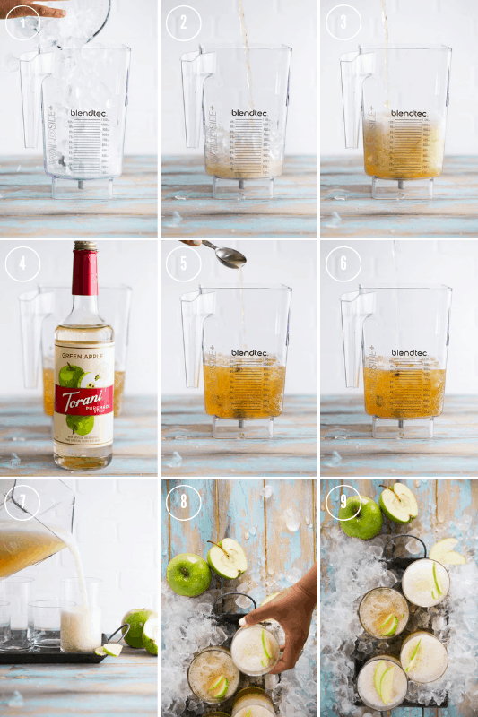 A 9 part collage showing the steps involved in making the Green Apple Kombucha Slushy recipe.