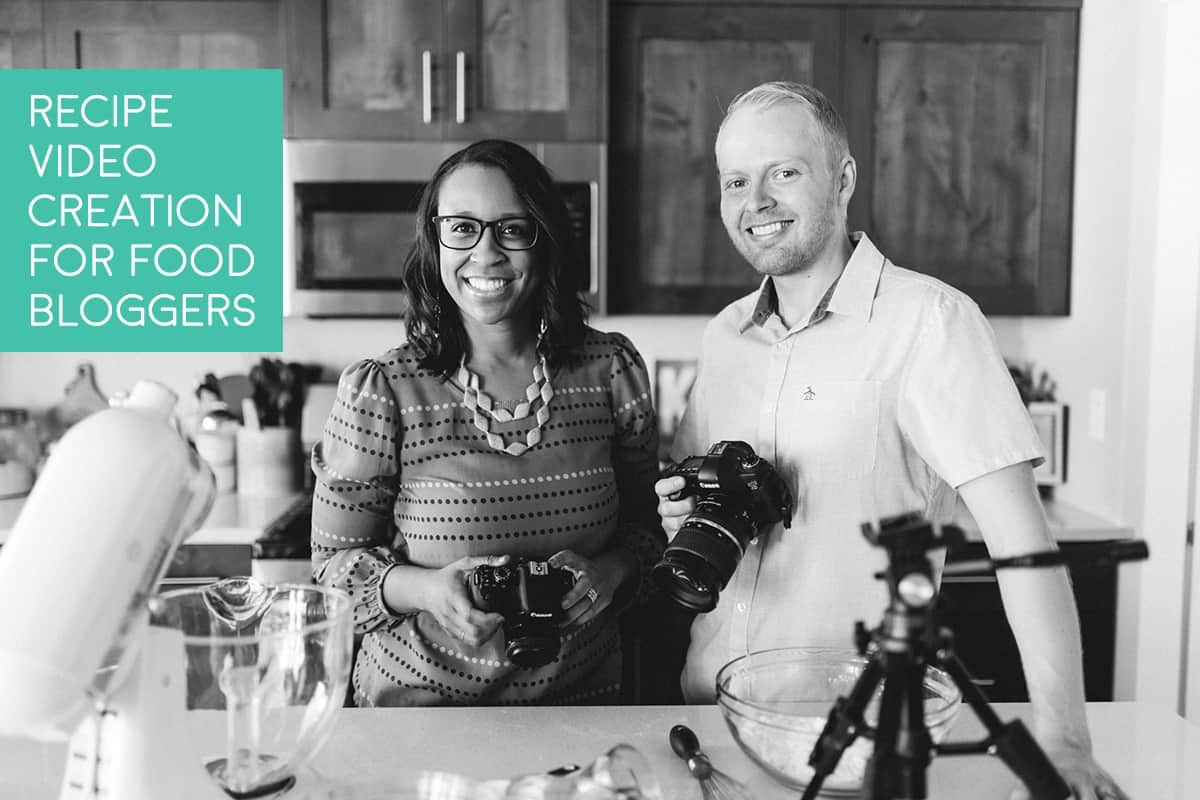 Steve and Yvonne posing next to recipe video equipment