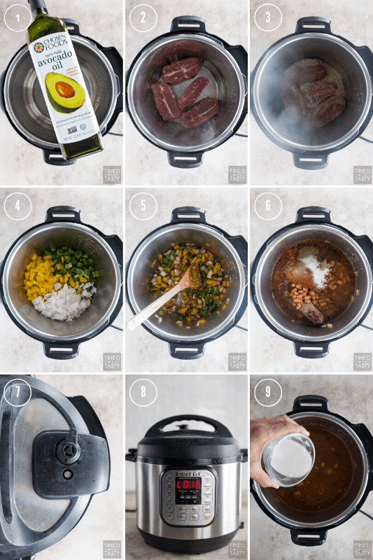 Collage of step-by-step photos how to make steak fajita chili