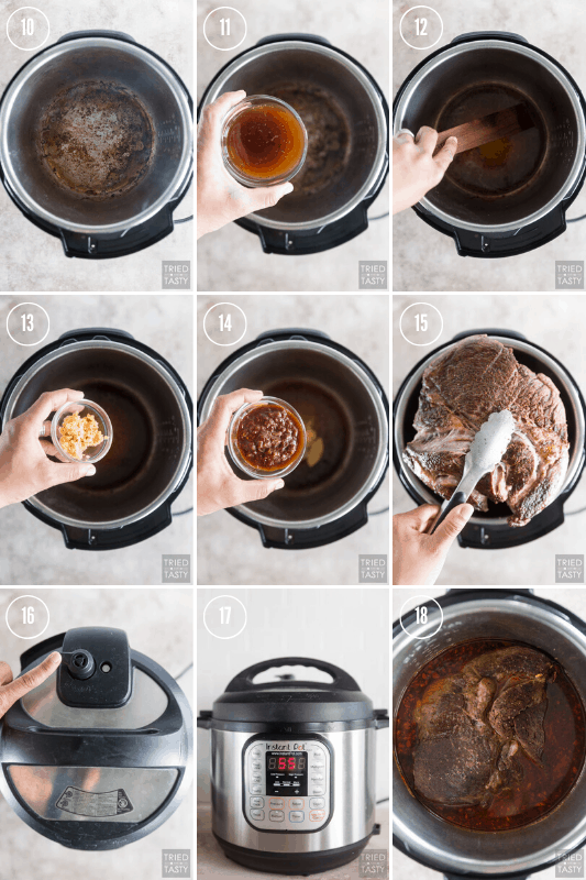 Step-by-step collage showing how to make Instant Pot Barbacoa Beef