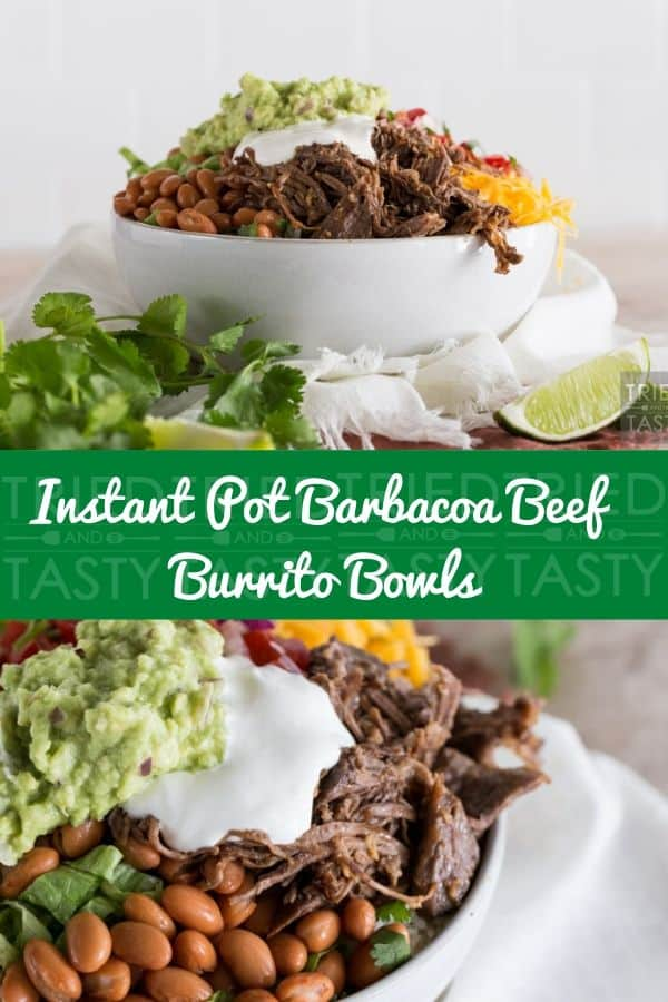 Instant Pot Barbacoa Beef Burrito Bowls // This Barbacoa Beef is easy to shred and easy to love with its savory goodness! Speaking of easy, you can cook it with the press of a button thanks to the magic of Instant Pot. | Tried and Tasty