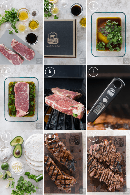A collage showing the process of marinating, grilling, slicing, and assembling the steak tacos.